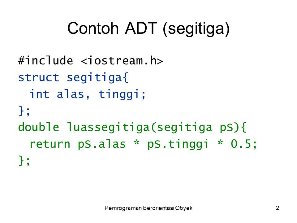 Pemrograman Berorientasi Obyek2 Contoh ADT (segitiga) #include struct segitiga{ int alas, tinggi; }; double luassegitiga(segitiga pS){ return pS.alas * pS.tinggi * 0.5; };