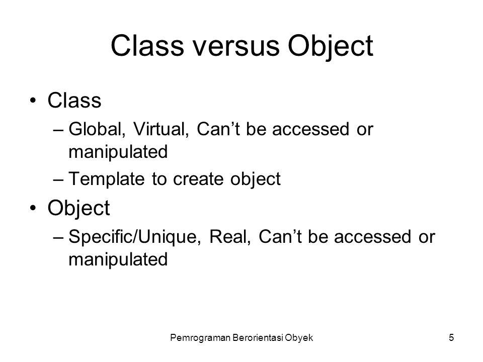 Pemrograman Berorientasi Obyek4 Encapsulation Data dan Fungsi dapat digabung dalam suatu class/object Information Hiding –Cukup mengetahui header yang