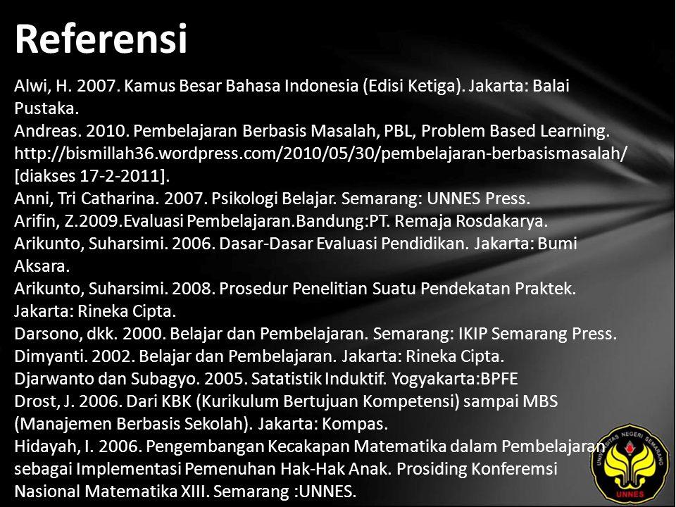 Referensi Alwi, H.2007. Kamus Besar Bahasa Indonesia (Edisi Ketiga).