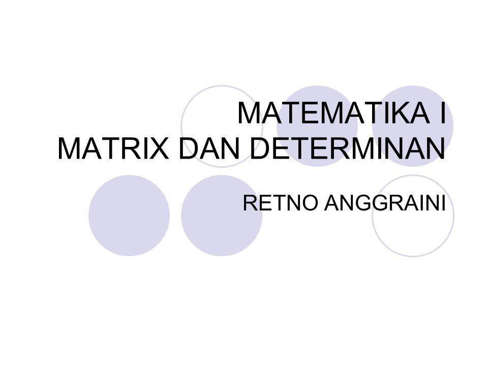 MATEMATIKA I MATRIX DAN DETERMINAN RETNO ANGGRAINI