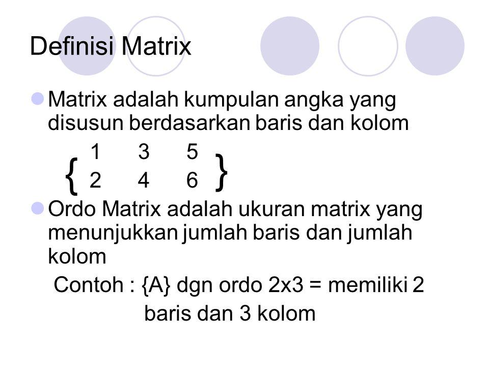 Definisi Matrix Matrix adalah kumpulan angka yang disusun berdasarkan baris dan kolom 1 3 5 2 4 6 Ordo Matrix adalah ukuran matrix yang menunjukkan ju