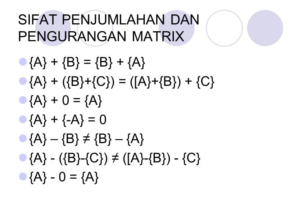 SIFAT PENJUMLAHAN DAN PENGURANGAN MATRIX {A} + {B} = {B} + {A} {A} + ({B}+{C}) = ([A}+{B}) + {C} {A} + 0 = {A} {A} + {-A} = 0 {A} – {B} ≠ {B} – {A} {A