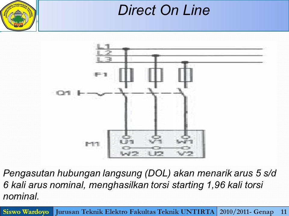Direct On Line Siswo WardoyoJurusan Teknik Elektro Fakultas Teknik UNTIRTA2010/2011- Genap 11 Pengasutan hubungan langsung (DOL) akan menarik arus 5 s