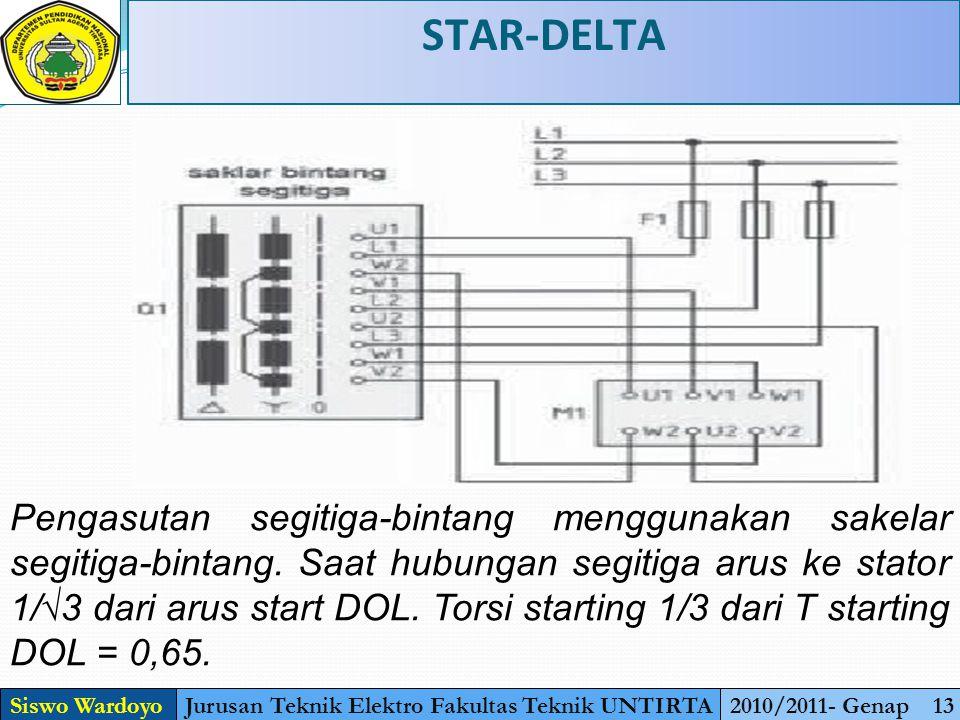 STAR-DELTA Siswo WardoyoJurusan Teknik Elektro Fakultas Teknik UNTIRTA2010/2011- Genap 13 Pengasutan segitiga-bintang menggunakan sakelar segitiga-bintang.