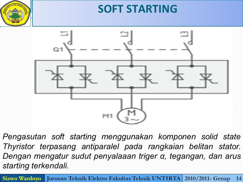 SOFT STARTING Siswo WardoyoJurusan Teknik Elektro Fakultas Teknik UNTIRTA2010/2011- Genap 14 Pengasutan soft starting menggunakan komponen solid state Thyristor terpasang antiparalel pada rangkaian belitan stator.