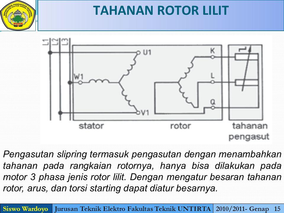 TAHANAN ROTOR LILIT Siswo WardoyoJurusan Teknik Elektro Fakultas Teknik UNTIRTA2010/2011- Genap 15 Pengasutan slipring termasuk pengasutan dengan menambahkan tahanan pada rangkaian rotornya, hanya bisa dilakukan pada motor 3 phasa jenis rotor lilit.