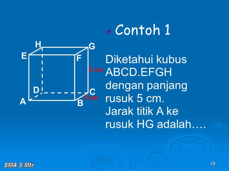 10 Contoh 1 Diketahui kubus ABCD.EFGH dengan panjang rusuk 5 cm. Jarak titik A ke rusuk HG adalah…. A B C D H E F G 5 cm