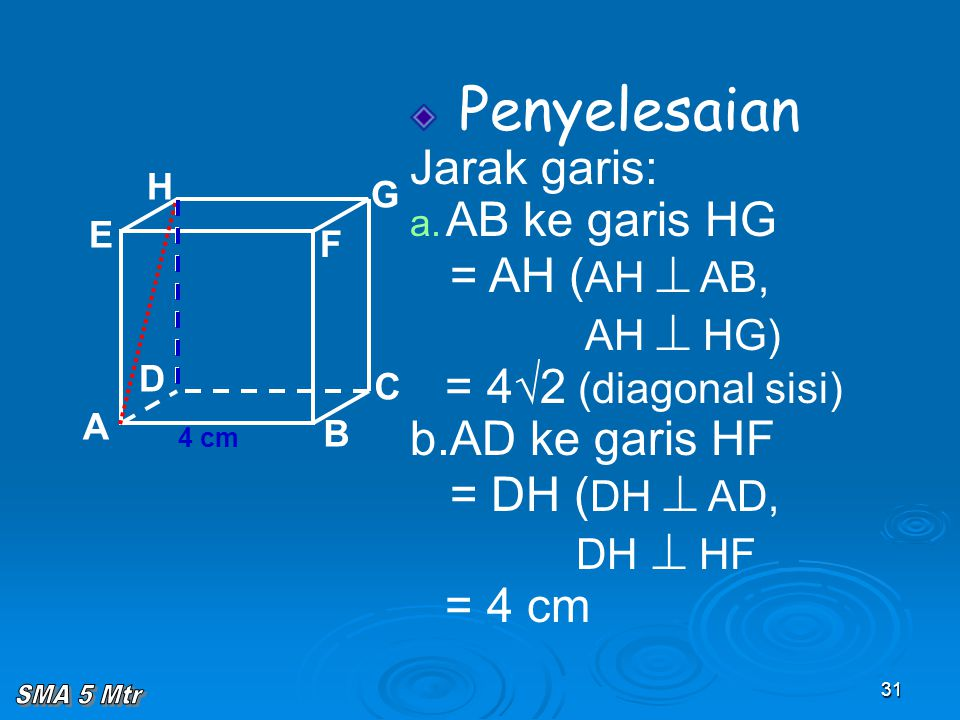 31 Penyelesaian Jarak garis: a. AB ke garis HG = AH ( AH  AB, AH  HG) = 4√2 (diagonal sisi) b.AD ke garis HF = DH ( DH  AD, DH  HF = 4 cm A B C D