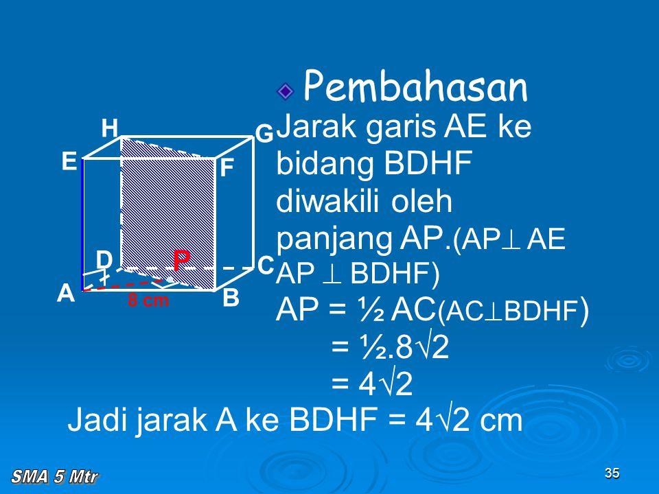 35 Pembahasan Jarak garis AE ke bidang BDHF diwakili oleh panjang AP.(AP  AE AP  BDHF) AP = ½ AC (AC  BDHF ) = ½.8√2 = 4√2 A B C D H E F G 8 cm P J