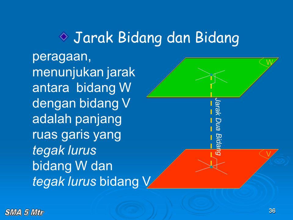 36 V W Jarak Bidang dan Bidang peragaan, menunjukan jarak antara bidang W dengan bidang V adalah panjang ruas garis yang tegak lurus bidang W dan tega