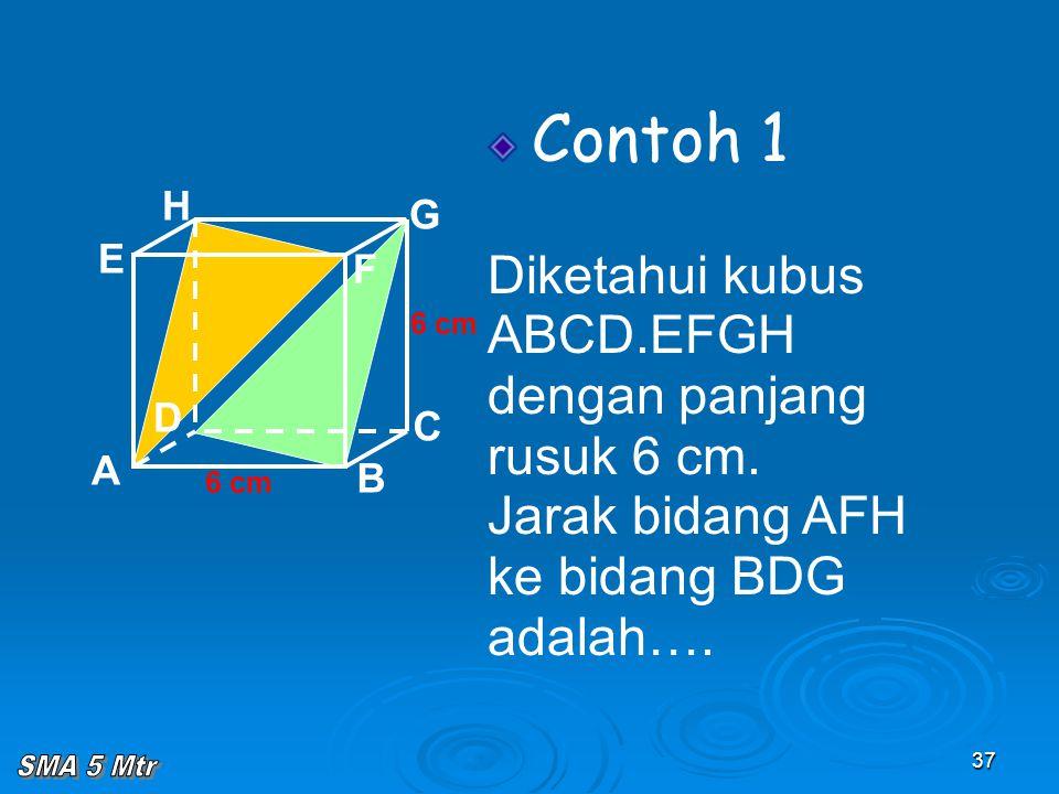 37 Contoh 1 Diketahui kubus ABCD.EFGH dengan panjang rusuk 6 cm. Jarak bidang AFH ke bidang BDG adalah…. A B C D H E F G 6 cm