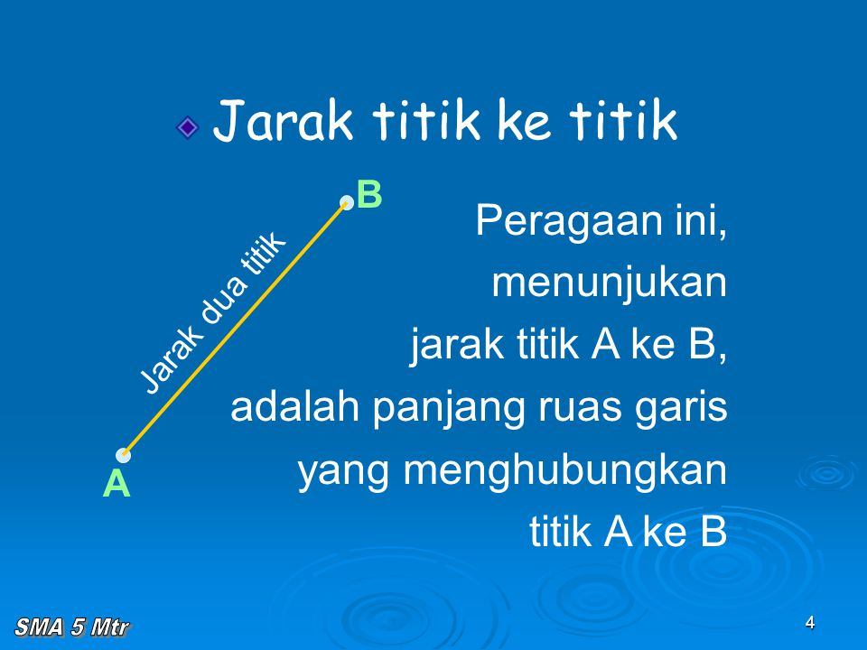 4 Jarak titik ke titik Peragaan ini, menunjukan jarak titik A ke B, adalah panjang ruas garis yang menghubungkan titik A ke B A B Jarak dua titik
