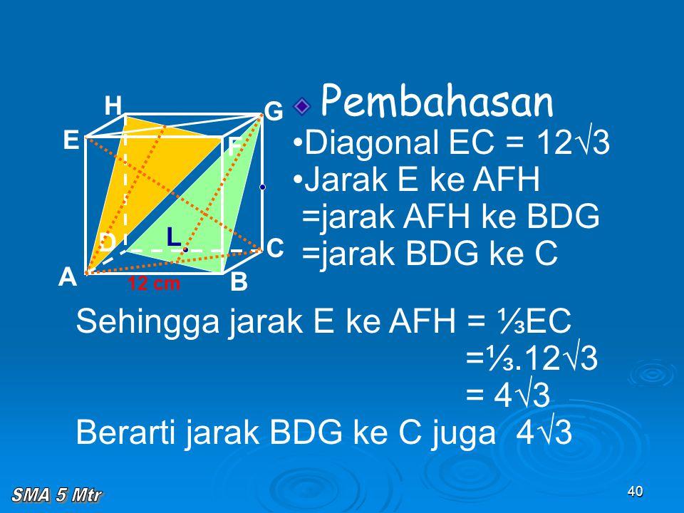 40 Pembahasan Diagonal EC = 12√3 Jarak E ke AFH =jarak AFH ke BDG =jarak BDG ke C A B C D H E F G 12 cm Sehingga jarak E ke AFH = ⅓EC =⅓.12√3 = 4√3 Be