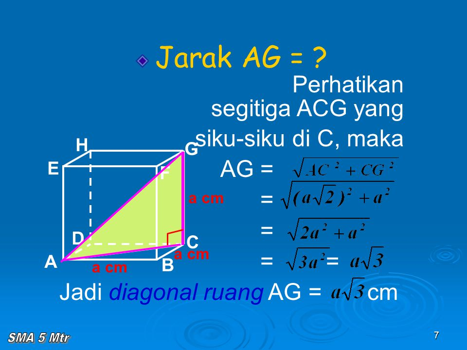 7 Jarak AG = ? Perhatikan segitiga ACG yang siku-siku di C, maka AG = = = = = Jadi diagonal ruang AG = cm A B C D H E F G a cm