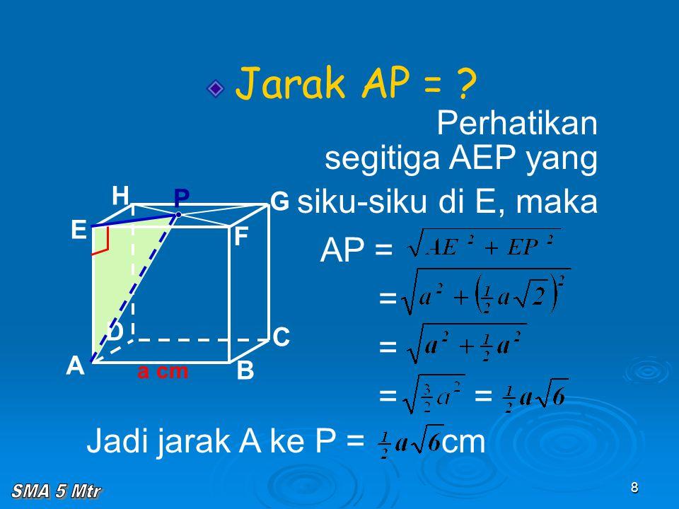 8 A B C D H E F G P Jarak AP = ? Perhatikan segitiga AEP yang siku-siku di E, maka AP = = = = = Jadi jarak A ke P = cm