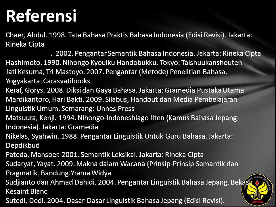Referensi Chaer, Abdul. 1998. Tata Bahasa Praktis Bahasa Indonesia (Edisi Revisi).