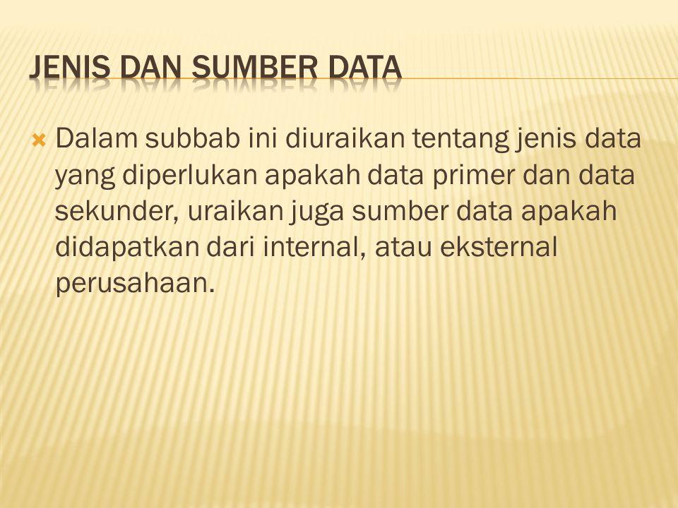  Dalam subbab ini diuraikan tentang jenis data yang diperlukan apakah data primer dan data sekunder, uraikan juga sumber data apakah didapatkan dari