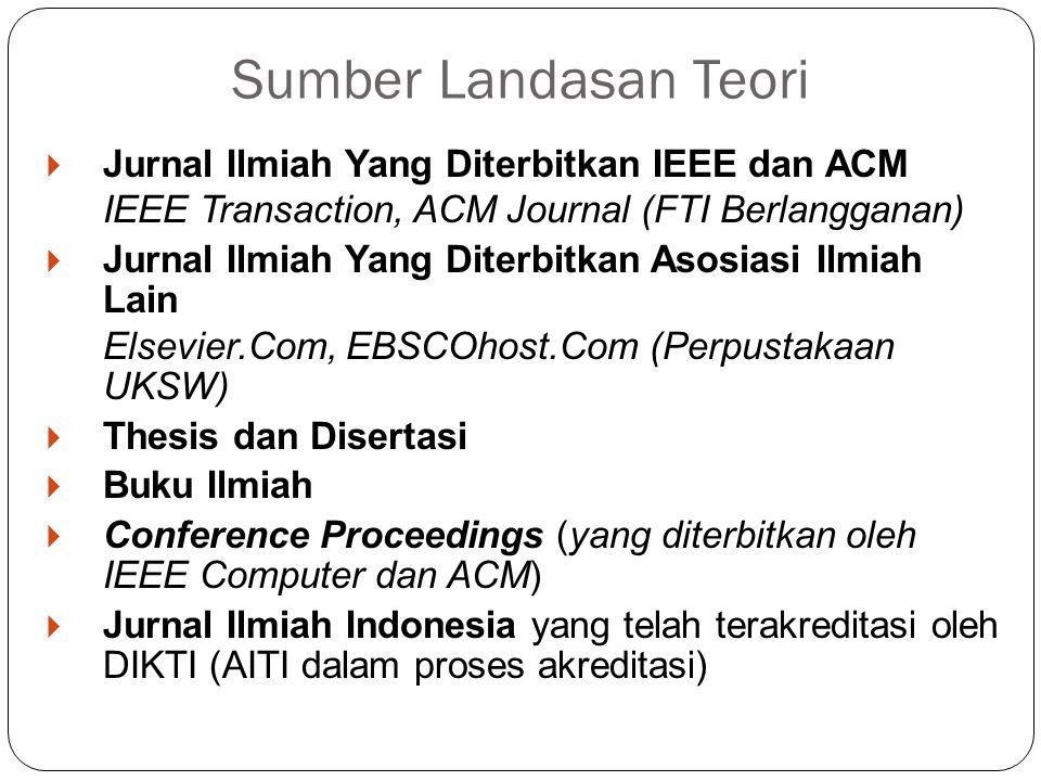  Jurnal Ilmiah Yang Diterbitkan IEEE dan ACM IEEE Transaction, ACM Journal (FTI Berlangganan)  Jurnal Ilmiah Yang Diterbitkan Asosiasi Ilmiah Lain E