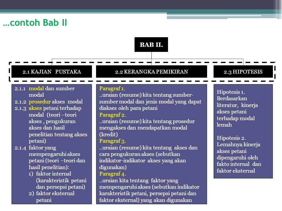 …contoh Bab II 2.1 KAJIAN PUSTAKA2.2 KERANGKA PEMIKIRAN2.3 HIPOTESIS BAB II.