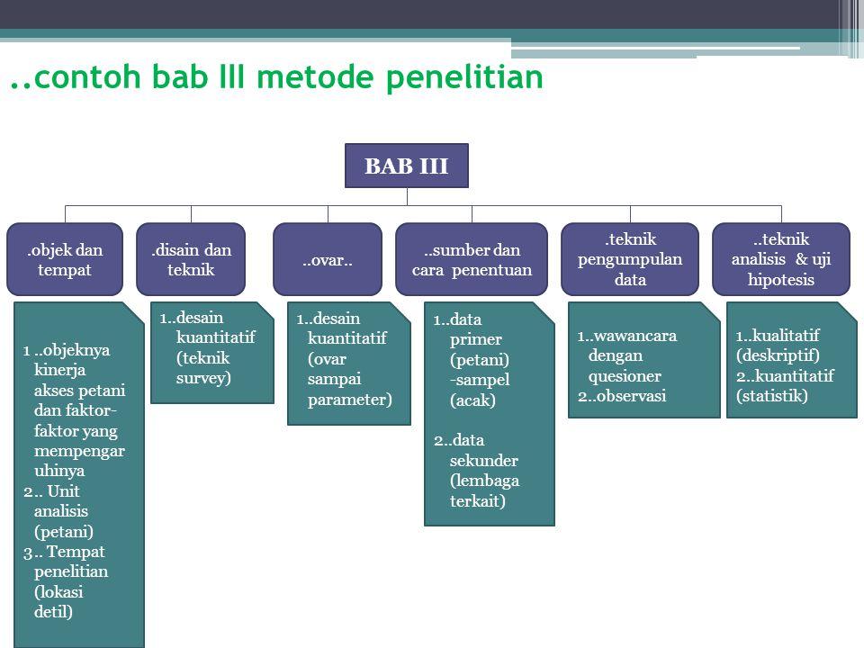 ..contoh bab III metode penelitian BAB III.objek dan tempat 1..objeknya kinerja akses petani dan faktor- faktor yang mempengar uhinya 2..