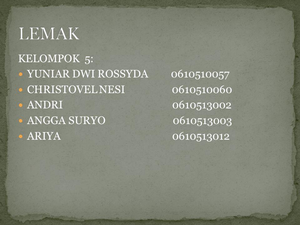 KELOMPOK 5: YUNIAR DWI ROSSYDA 0610510057 CHRISTOVEL NESI 0610510060 ANDRI 0610513002 ANGGA SURYO 0610513003 ARIYA 0610513012