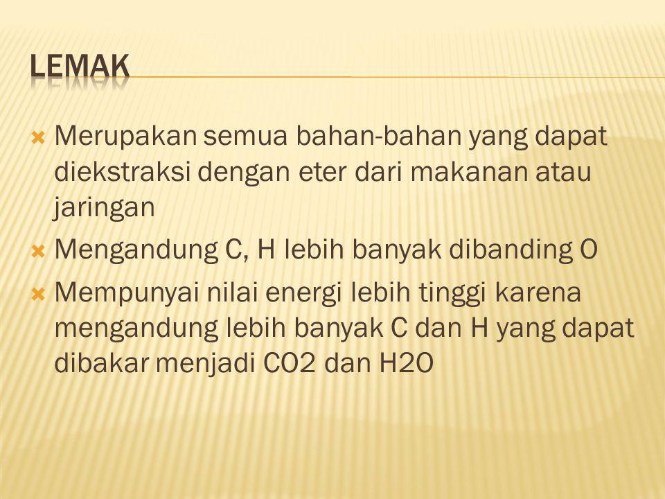  Merupakan semua bahan-bahan yang dapat diekstraksi dengan eter dari makanan atau jaringan  Mengandung C, H lebih banyak dibanding O  Mempunyai nilai energi lebih tinggi karena mengandung lebih banyak C dan H yang dapat dibakar menjadi CO2 dan H2O
