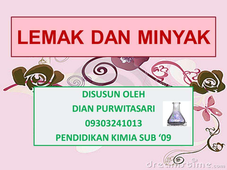 ASAM LEMAK TIDAK JENUH (UFA) Nama UmumSimbolStruktur Titik Lebur ( ̊ C) MYRISTOLEIC (9- tetradecenoic) 14: 1 ∆9 C 14 H 26 O 2 - (animal milk fat) PALMITOLEIC (9-hexadecenoic) 16: 1 ∆9 C 16 H 30 O 2 33 ( amf, seed fats, beef) OLEIC (9-octadecenoic) 18: 1 ∆9 C 18 H 34 O 2 13 (vegetable oil, af) GADOLEIC (9-eicosenoic) 20: 1 ∆9 C 20 H 38 O 2 - (marine oil) ERUCIC (13-docosenoic) 22: 1 ∆13 C 22 H 42 O 2 33,5 (mustard oil)
