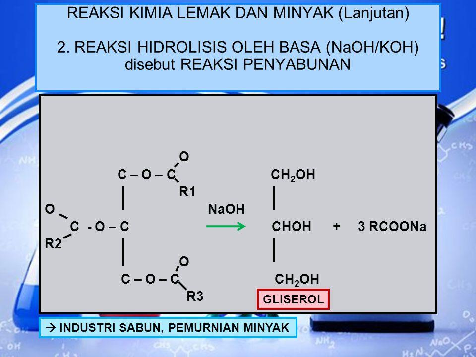 REAKSI KIMIA LEMAK DAN MINYAK 1. HIDROLISIS HIDROLISIS O H2 - C - O – C - R1 O H - C - O – C - R2 O H2 - C - O – C - R3 + H 2 O H2 – C – OH H - C - OH