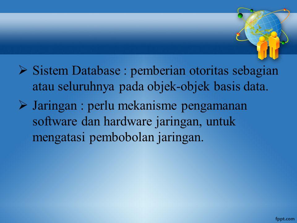  Sistem Database : pemberian otoritas sebagian atau seluruhnya pada objek-objek basis data.