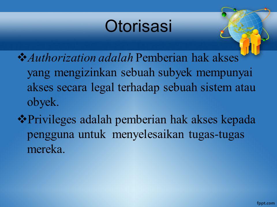 Otorisasi  Authorization adalah Pemberian hak akses yang mengizinkan sebuah subyek mempunyai akses secara legal terhadap sebuah sistem atau obyek.