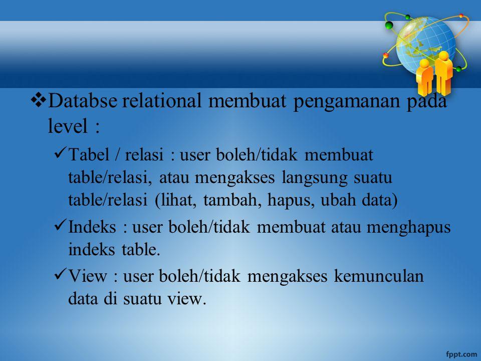  Databse relational membuat pengamanan pada level : Tabel / relasi : user boleh/tidak membuat table/relasi, atau mengakses langsung suatu table/relasi (lihat, tambah, hapus, ubah data) Indeks : user boleh/tidak membuat atau menghapus indeks table.