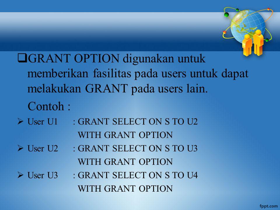  GRANT OPTION digunakan untuk memberikan fasilitas pada users untuk dapat melakukan GRANT pada users lain.