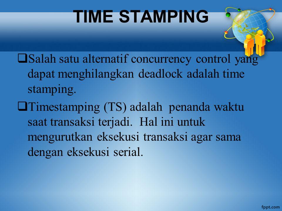 TIME STAMPING  Salah satu alternatif concurrency control yang dapat menghilangkan deadlock adalah time stamping.