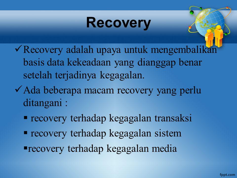Recovery transaksi Sebuah transaksi adalah satu kesatuan prosedur didalam program yang mungkin memperbaharui data pada sejumlah tabel Contoh : pengambilan uang pada mesin ATM
