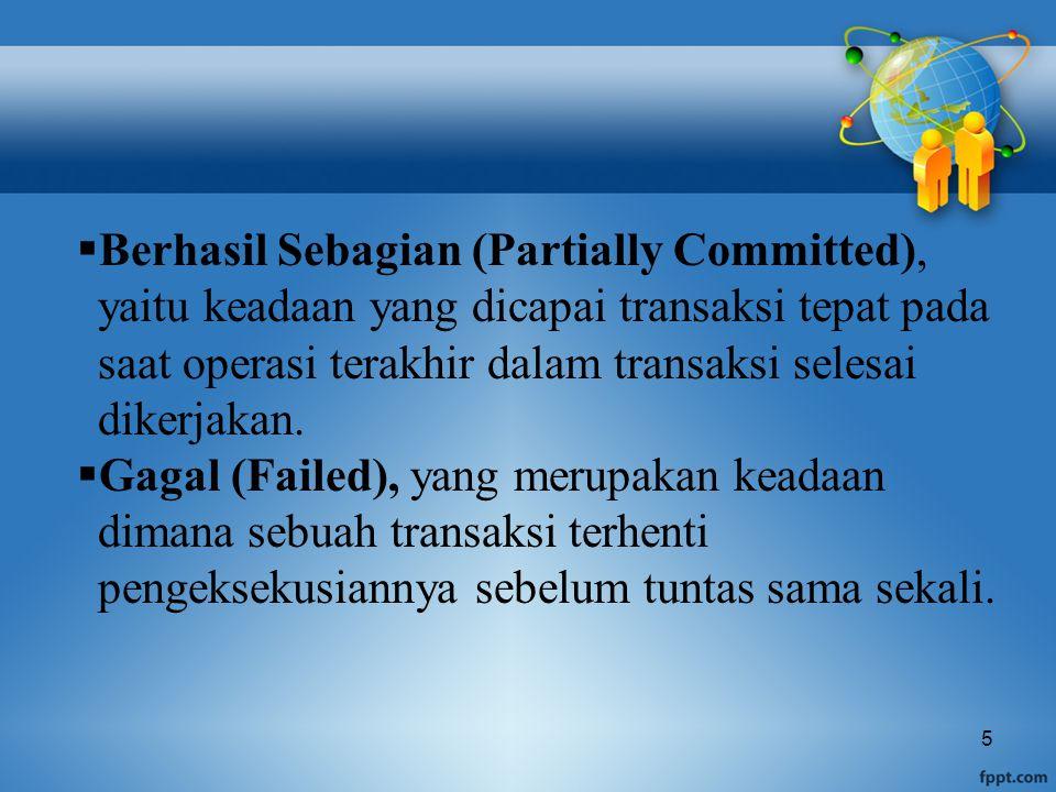 5  Berhasil Sebagian (Partially Committed), yaitu keadaan yang dicapai transaksi tepat pada saat operasi terakhir dalam transaksi selesai dikerjakan.