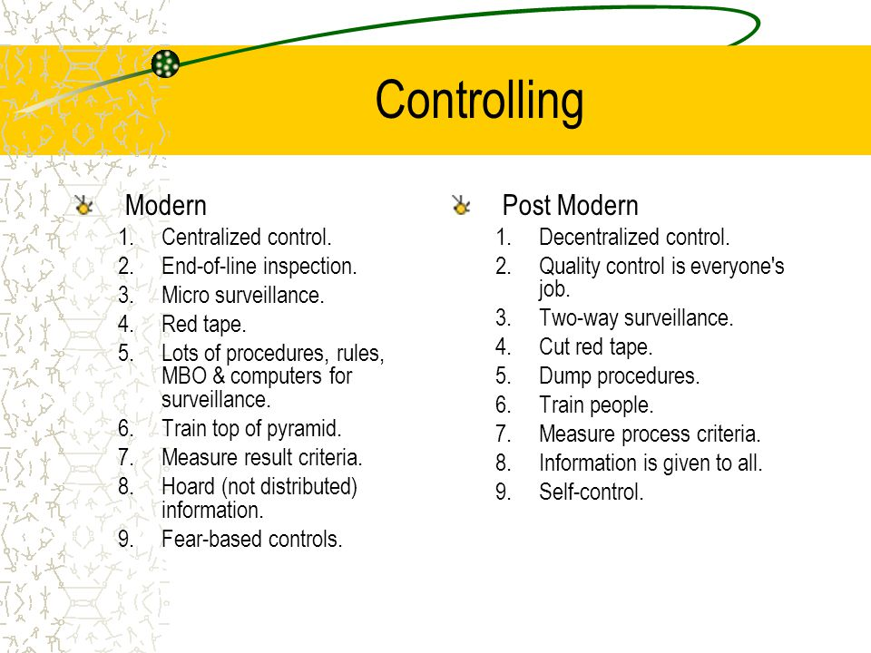 Controlling Modern 1.Centralized control. 2.End-of-line inspection. 3.Micro surveillance. 4.Red tape. 5.Lots of procedures, rules, MBO & computers for