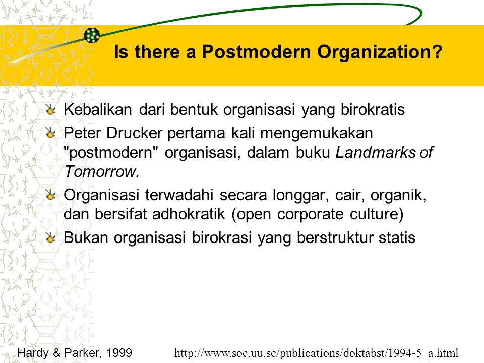 Is there a Postmodern Organization? Kebalikan dari bentuk organisasi yang birokratis Peter Drucker pertama kali mengemukakan