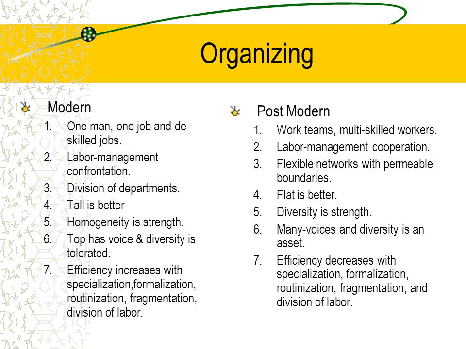 Organizing Modern 1.One man, one job and de- skilled jobs. 2.Labor-management confrontation. 3.Division of departments. 4.Tall is better 5.Homogeneity