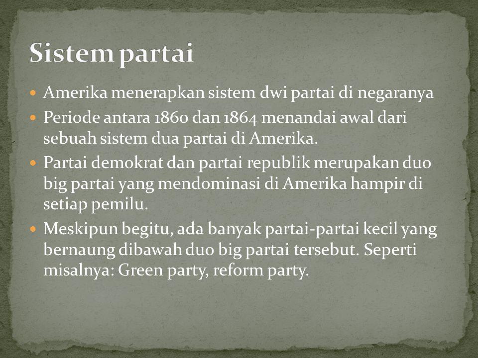 Amerika menerapkan sistem dwi partai di negaranya Periode antara 1860 dan 1864 menandai awal dari sebuah sistem dua partai di Amerika. Partai demokrat