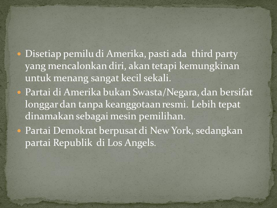 Di Amerika memakai sistem single member district dan winner takes all.