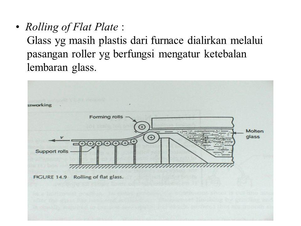 Rolling of Flat Plate : Glass yg masih plastis dari furnace dialirkan melalui pasangan roller yg berfungsi mengatur ketebalan lembaran glass.