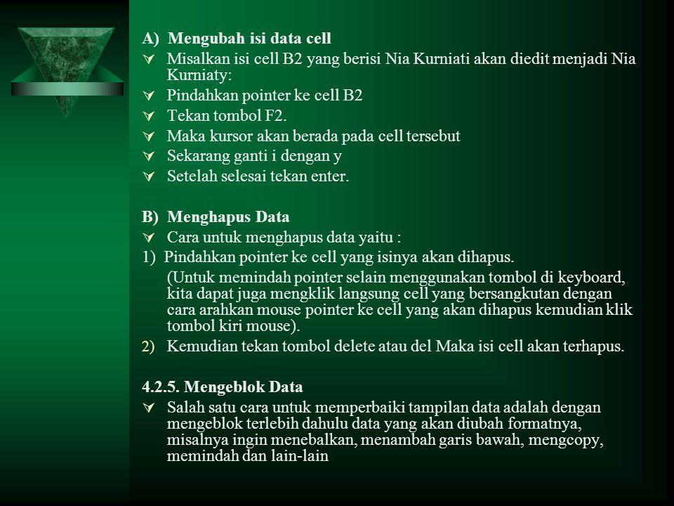 A) Mengubah isi data cell  Misalkan isi cell B2 yang berisi Nia Kurniati akan diedit menjadi Nia Kurniaty:  Pindahkan pointer ke cell B2  Tekan tom