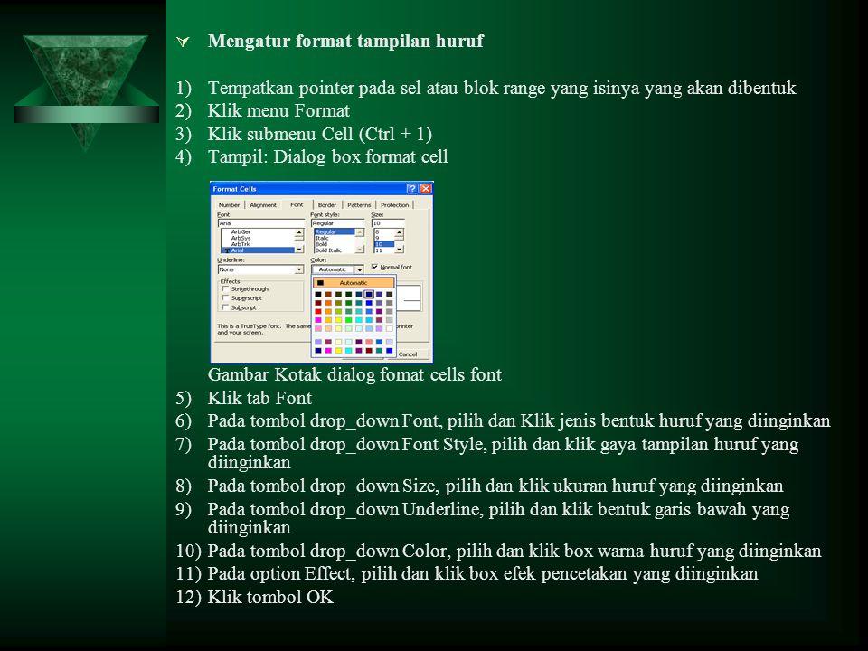 Mengatur format tampilan huruf 1)Tempatkan pointer pada sel atau blok range yang isinya yang akan dibentuk 2)Klik menu Format 3)Klik submenu Cell (C