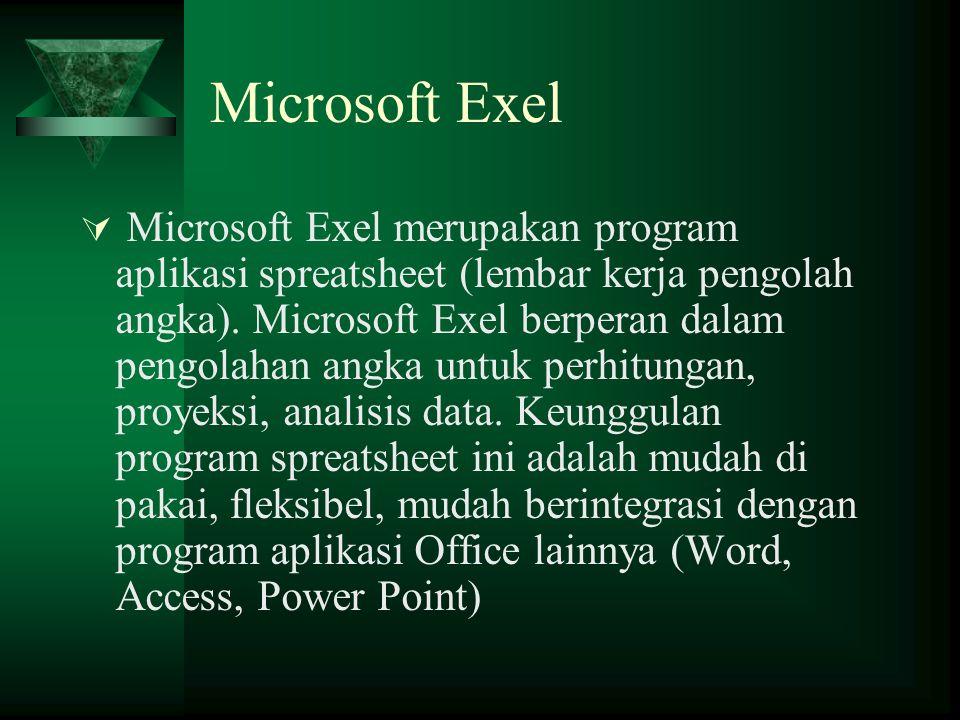 Microsoft Exel  Microsoft Exel merupakan program aplikasi spreatsheet (lembar kerja pengolah angka). Microsoft Exel berperan dalam pengolahan angka u