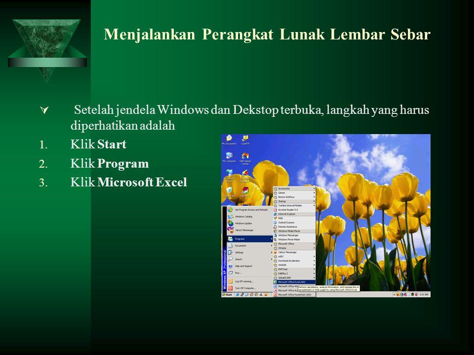 Menjalankan Perangkat Lunak Lembar Sebar  Setelah jendela Windows dan Dekstop terbuka, langkah yang harus diperhatikan adalah 1. Klik Start 2. Klik P