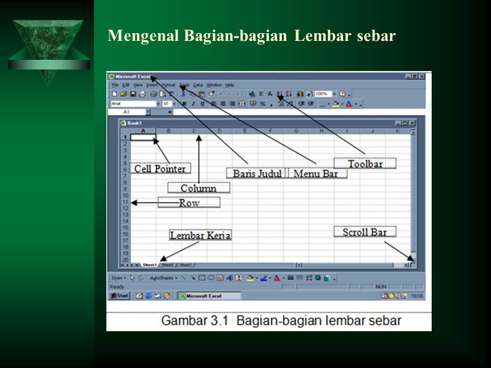  Ketika Microsoft Excel diaktifkan maka sebuah buku kerja (workbook) kosong akan terbuka, siap untuk digunakan.