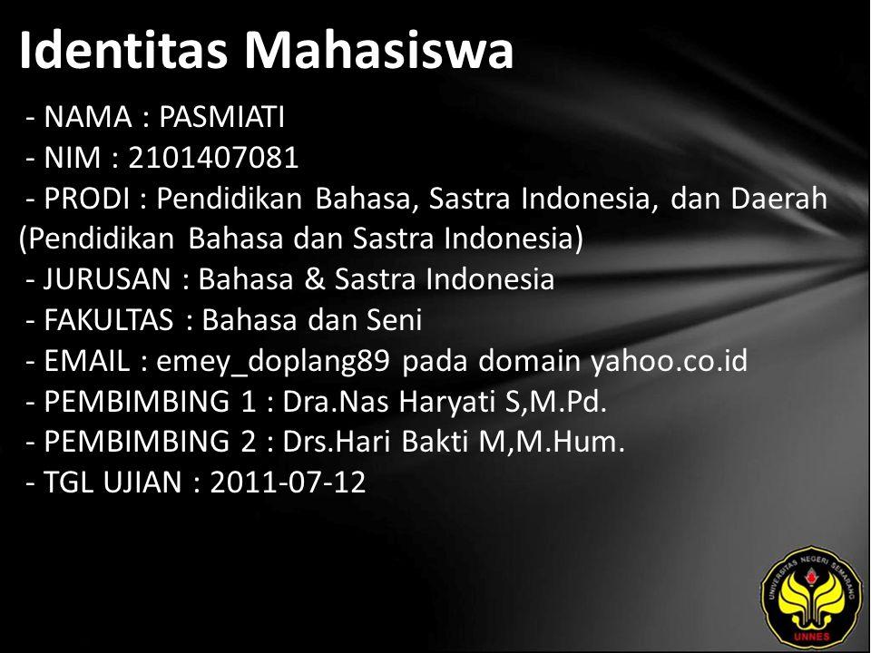 Identitas Mahasiswa - NAMA : PASMIATI - NIM : 2101407081 - PRODI : Pendidikan Bahasa, Sastra Indonesia, dan Daerah (Pendidikan Bahasa dan Sastra Indon