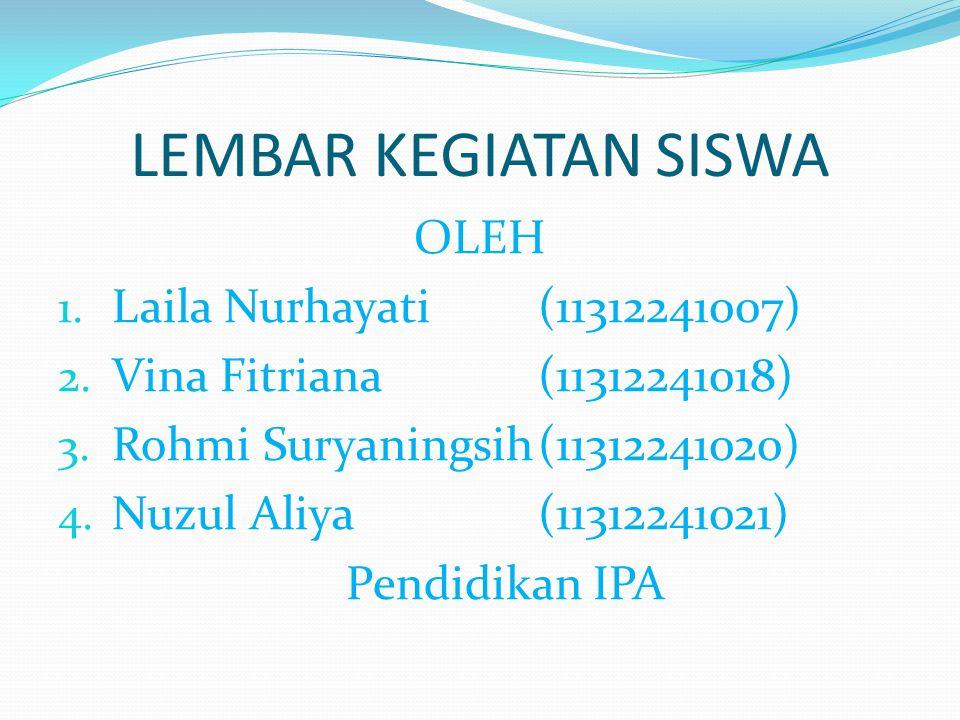 LEMBAR KEGIATAN SISWA OLEH 1. Laila Nurhayati(11312241007) 2. Vina Fitriana(11312241018) 3. Rohmi Suryaningsih(11312241020) 4. Nuzul Aliya(11312241021