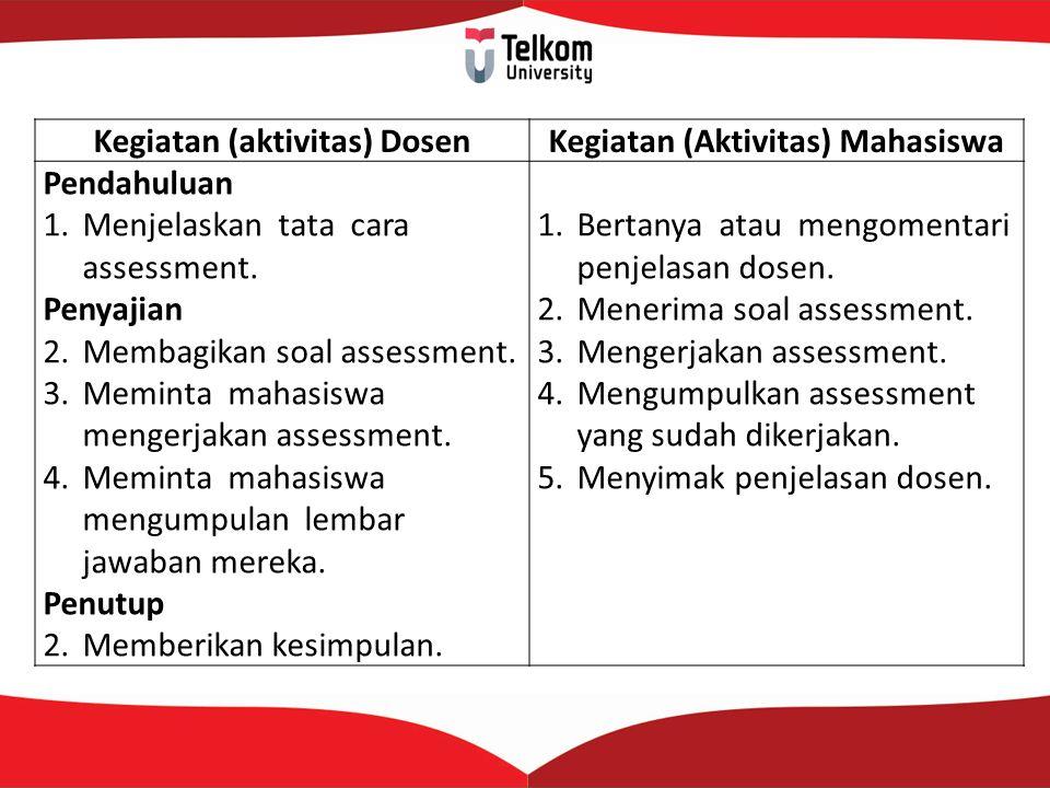 Kegiatan (aktivitas) DosenKegiatan (Aktivitas) Mahasiswa Pendahuluan 1.Menjelaskan tata cara assessment. Penyajian 2.Membagikan soal assessment. 3.Mem