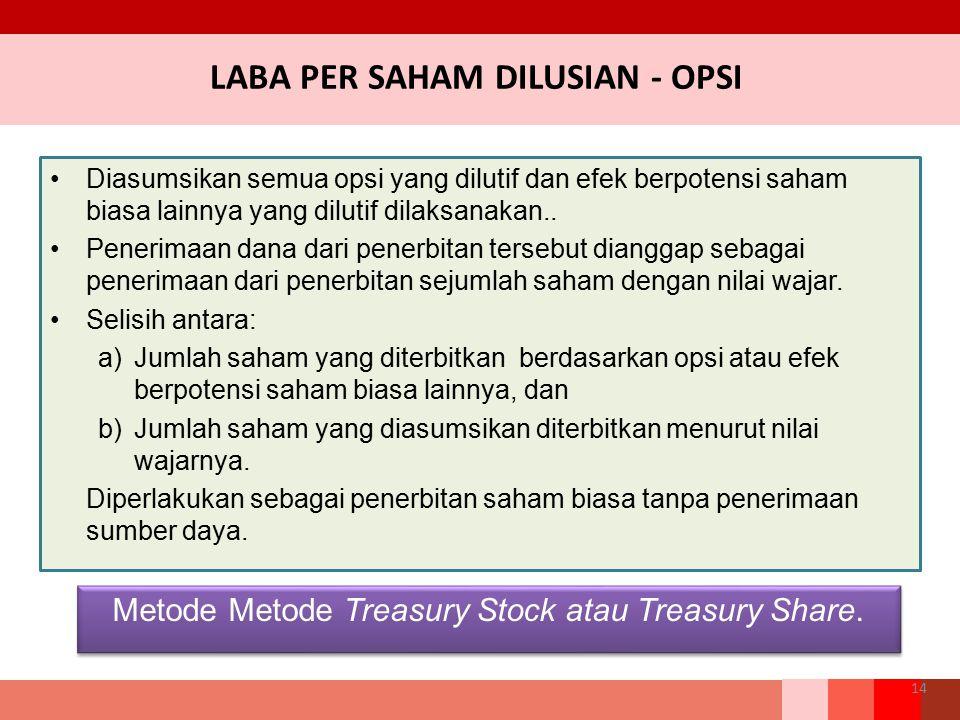 14 Diasumsikan semua opsi yang dilutif dan efek berpotensi saham biasa lainnya yang dilutif dilaksanakan.. Penerimaan dana dari penerbitan tersebut di